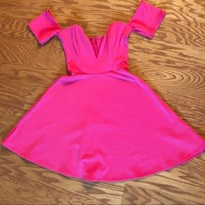 Hot pink off the shoulder dress size small